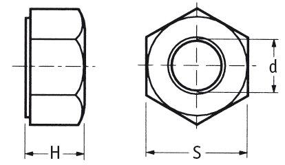 Kunststoff Mutter Sechskantmutter M12 Nylon 6.6 natur 10 Stück