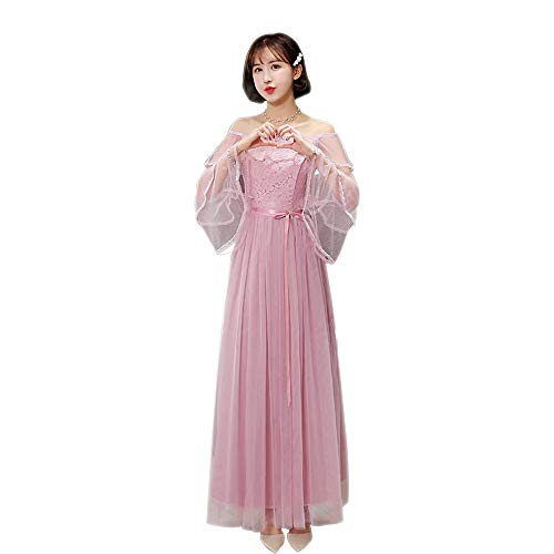 BOZEVON Womens Long Bridesmaid Dress Lace Slim Evening Dress Korea Style