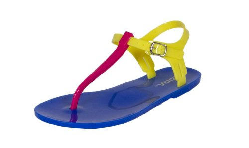 Ian! By Soda Jelly Flat Thong Ankle Strap Sandals in Fuchsia Yellow Blue PVC Colorblock,8 B(M) US,Fushsia (Pink Soda Shoes compare prices)