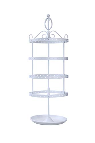 AmigasHome Classic 4 Tier Heavy Duty Metal Made Rotating Tabletop Bracelet & Necklace Jewelry Display Organizer Rack Tower - - Tower Gold White