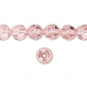 Swarovski Crystal 5000 8mm Light Rose (Pink) Faceted Round Beads - 12 -