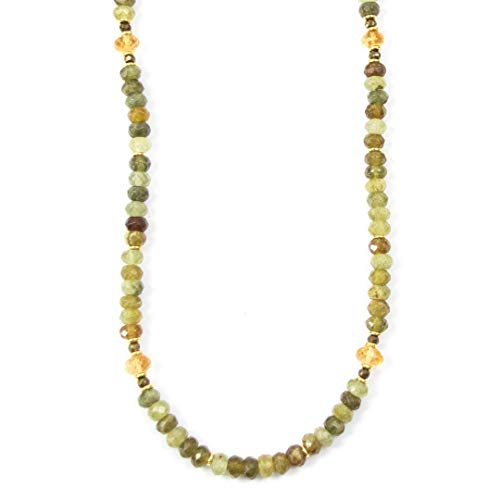 Double Citrine Necklace Strand - Grossular Garnet and Citrine Long Beaded Necklace Strand - 34 Inches Long Handmade Necklace by Miller Mae Designs