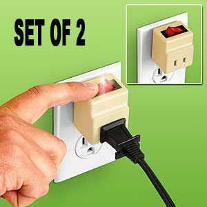 PLUG IN CORD SWITCH WITH SAFETY REMINDER LIGHT (SET OF 2)