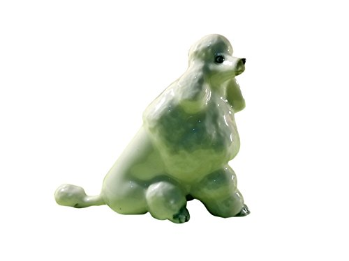 Sansukjai Poodle Animals Figurines Ceramic Hand Painted Dog Collectible Gift Home Decorate
