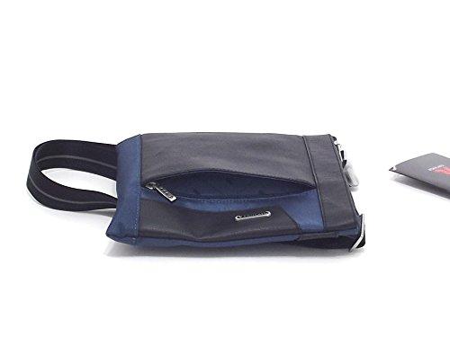Roncato borsa uomo, Panama 400866, bandoliera in nylon ed ecopelle, colore denim nero