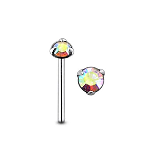 Rainbow Tri Claw Set Round Gemstone Top 22 Gauge - 8MM Length Silver Straight End Nose Stud Nose Pin - Gemstone Nose Pin