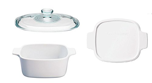 Just White Pyroceram 1.5 L Casserole Bundle: Casserole with Glass Lid and Plastic Lid