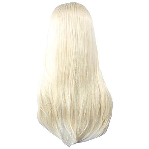 Angelaicos Unisex Straight Styled Party Costume Cosplay Wigs Long Light Blonde ()