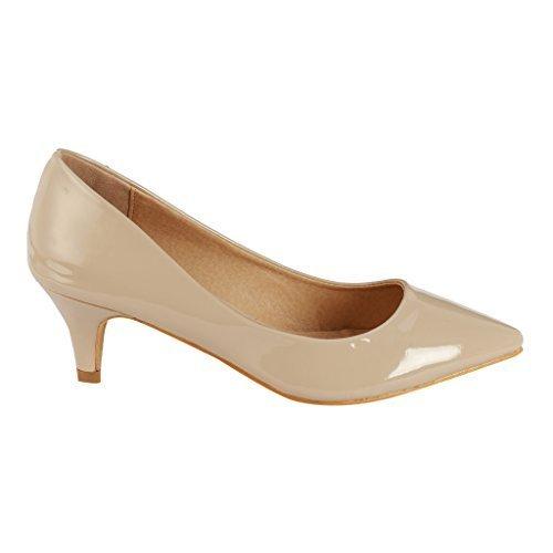 Coshare Women's Fashion Patent Embellished Front Low Heel Pumps, Beige, 8 M (Lined Low Heel Heels)