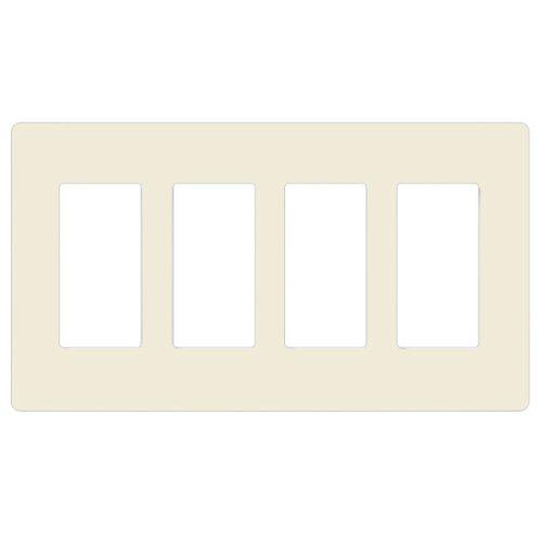 Lutron CW-4-LA Claro 4-Gang Wallplate, Light Almond