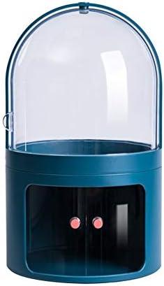 ZEZHE カバーダストドレッシングテーブルジュエリー化粧箱デスクトップスキンケア製品の仕上げボックス透明なメイクアップオーガナイザー、化粧品ストレージボックス (Color : Blue)