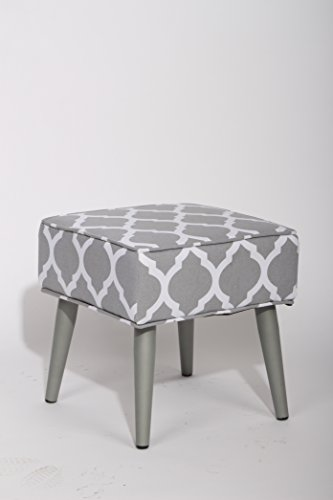 Grey and White Fabric Pattern Square Footstool Ottoman with