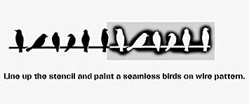 wiederverwendbar /& wiederholbar V/ögel auf Draht Silhouette Schablone Wandfarbe Stoff und M/öbel Heim Dekoration S//6X26CM Kunst Handwerk Stempel
