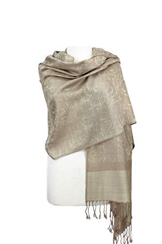 Paskmlna Paisley Jacquard Pashmina Shawl Wrap Scarf Stole (Taupe-beige018129)