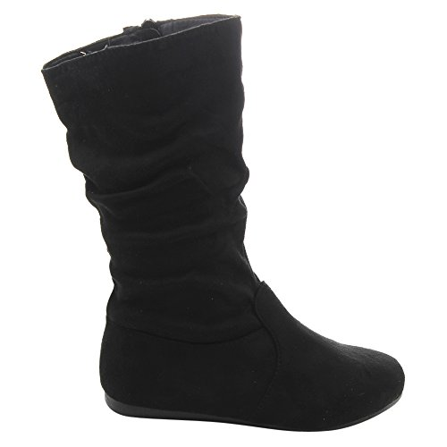 LINK GD92 Girl's Mid-Calf Solid Color Flat Heel Slouch Boots Photo #2