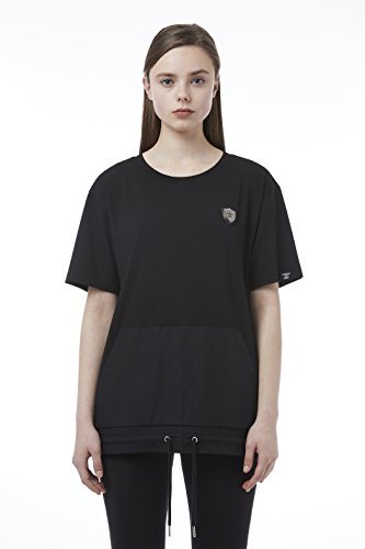 BOY London Unisex (S,M,L,XL) 18SS Patch Detail Woven Color Block Shortsleeve T-Shirt - Black,White New_(BH2TS143) (Black, Large) by BOY London