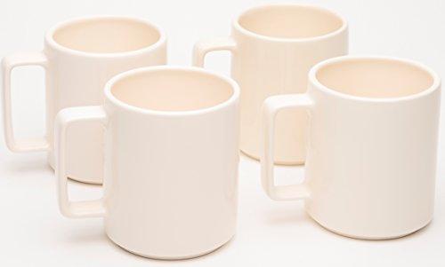 American Mug Pottery Ceramic Square Handle Coffee Mug, Made in USA, Ivory, 17 oz - Pack of 4 ()