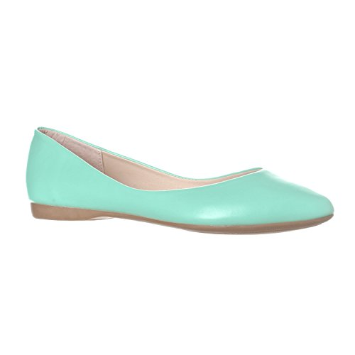 Riverberry Women's Ella Basic Closed Pointed Toe Ballet Flat Slip On Shoe, Mint PU, 6.5 for $<!--$19.99-->