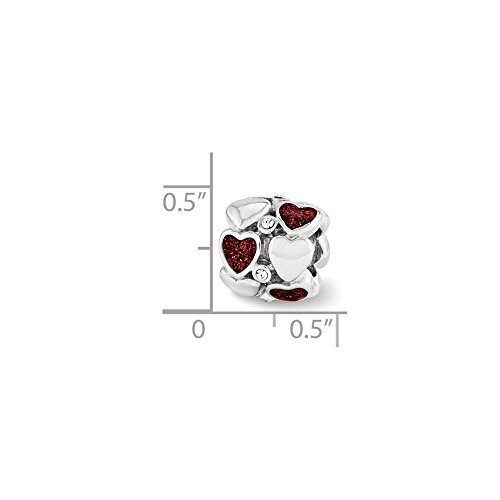 Solid .925 Sterling Silver Reflections Red Enamel Swarovski Crystal Hearts Bead 10.91 ()