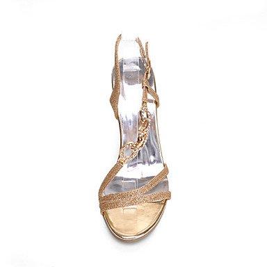 Plata Stiletto Oro Tacón PuntiagudosVestido Semicuero golden ligaosheng Mujer wZpXBqWYgn