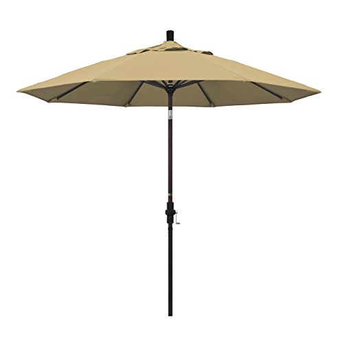 California Umbrella 9' Round Aluminum Market Umbrella, Crank Lift, Collar Tilt, Bronze Pole, Champagne Olefin