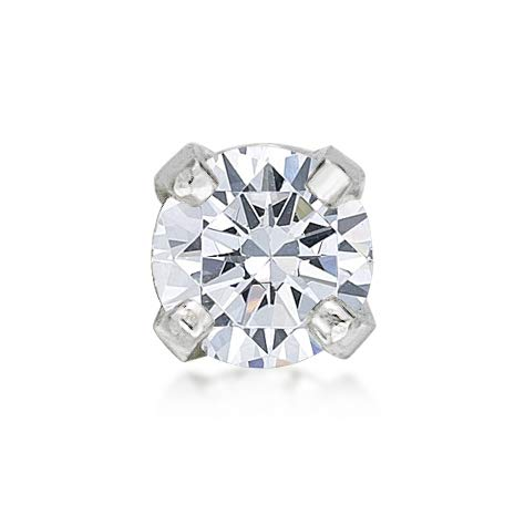 Lavari - 14K White Gold 2.4mm .05 Carat Genuine Diamond Nose Ring Straight Stud 22 Gauge