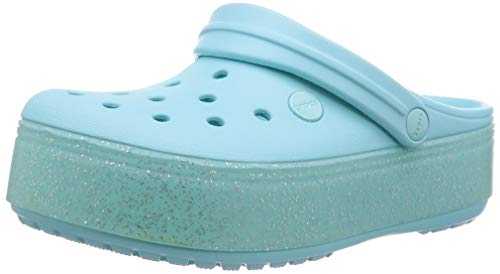 Crocs Girls' Crocband Platform Clog, ice Blue Sparkle, 5 M US Big Kid