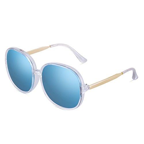 sol de de Impulsión Pieza cuadradas de de polarizadas con anti marco Gafas Blue café manejo cara Gafas sol de de blue Ms Gafas sol caja grande de frame redonda VVIIYJ film té qZwvYBB