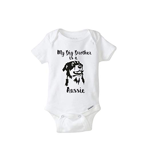 Cute Big Brother is an Australian Shepherd Aussie Baby Onesie Idea Coming Home Outfit (3-9 Months) White]()