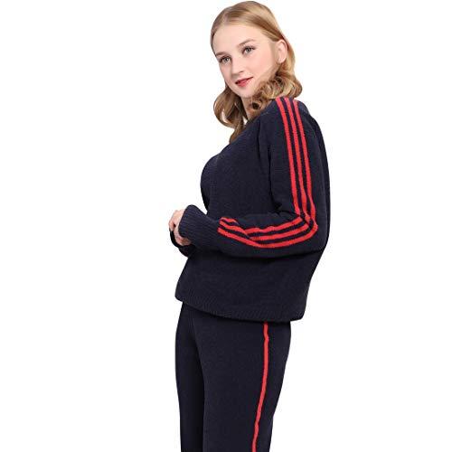(WELITEGERY Women's Sweatsuit Set,Long Sleeve Knitted Cowl Neck Women's Sports Sweatshirts,Leisure Wear Suit Wide Leg Trousers Deep)