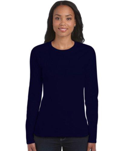 Damen-Gildan Soft Style Cotton Long Sleeve-lange Ärmel T-Shirt-Navy-Medium-KOSTENLOSE LIEFERUNG