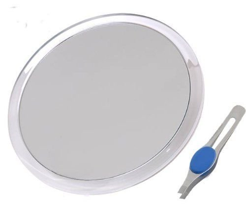DB-Tech Large 8 Suction Cup 10X Magnifying Mirror with Precision Tweezers New