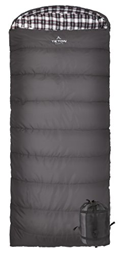 TETON Sports Fahrenheit Regular 0F Sleeping Bag; TETON Sleeping Bag Great for Cold Weather Camping; Lightweight Sleeping Bag; Hiking, Camping; Grey, Left -