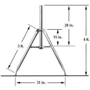 3 ft. Satellite Tripod Mount with 1.66'' OD Mast
