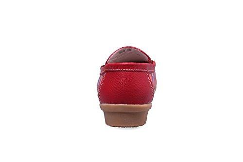 AllhqFashion Mujeres Sin cordones Mini Tacón Colores Surtidos Puntera Cuadrada De salón Rojo