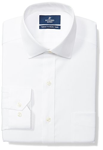 BUTTONED DOWN Men's Tailored Fit Spread-Collar Solid Non-Iron Dress Shirt (Pocket), White, 17