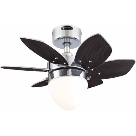 Westinghouse 7864400 24'' Chrome 6-Blade Reversible Ceiling Fan with Light by Westinghouse