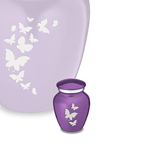 GetUrns Keepsake Mini Butterfly Cremation Urn for Ashes Purple