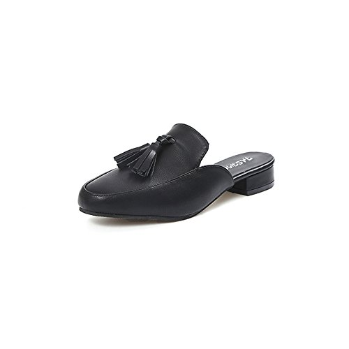 Leather Pointy Quality Heel Newest Shoes Comfortable Low pit4tk Black Sexy Slippers High Mules zx1wCEq4