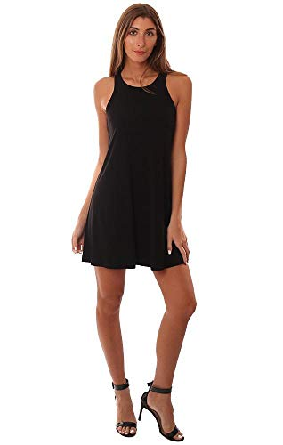 (Veronica M Dresses Racerback Flowy Black Mini Tank Dress - Black - M)