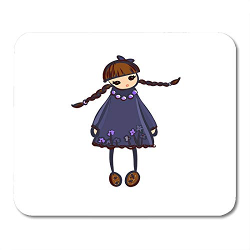 Emvency Mouse Pads Beautiful White Accessories Doll Girl in Dress with Pigtails Baby Beauty Mouse Pad 9.5