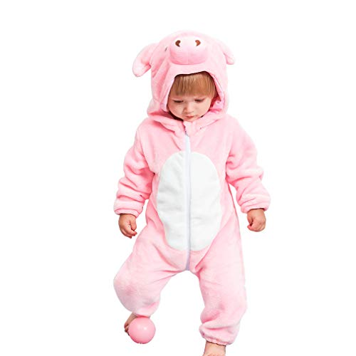 (IDGIRL Infant Pig Costume, Animal Newborn Cosplay Pajamas for Baby Girl Winter Flannel Romper Outfit 3-6 Months, Pink One)
