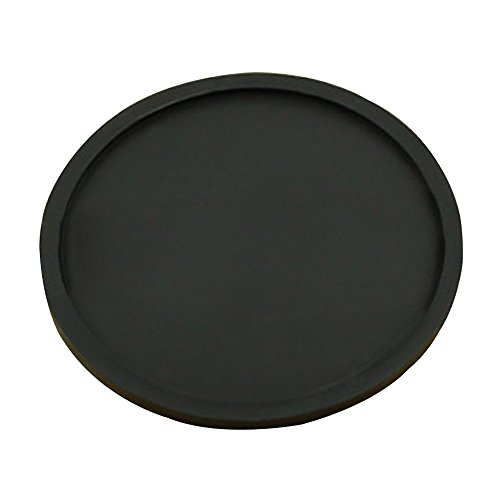 Kaimao Round Silicone Coaster Cup Coffee Drinks Mat Heat Resistant and Non-slip with Lip without any Leakage 10 x0.5cm---Black