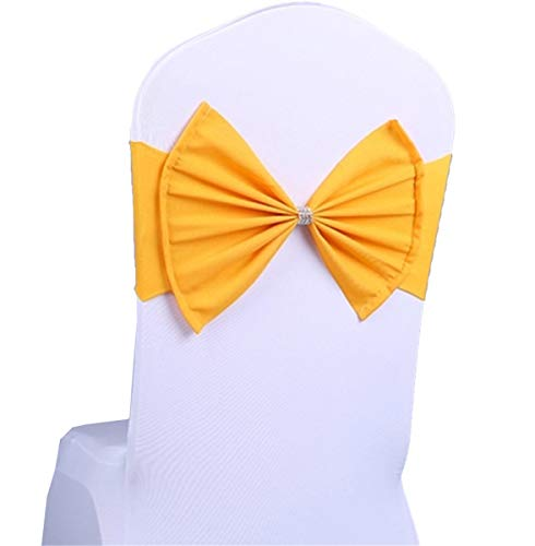 (LORIE 50 pcs Yellow Wedding Chair Sashes Bow Spandex Chair Cover Bands Party Chair Ribbons for Baby Shower Banquet Christmas Thanksgiving Decorations (50, Yellow))