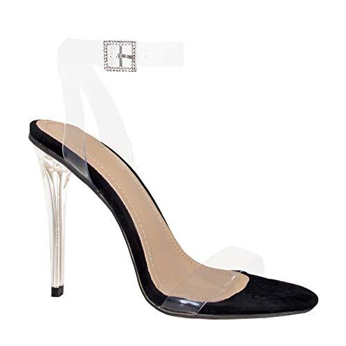 Black Clear Diamante Stiletto Heels US10