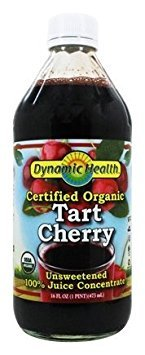 - Dynamic Health 100% Unsweetened Pure Organic Certified Tart Cherry Juice Concentrate, 16-Ounce Glass Bottle