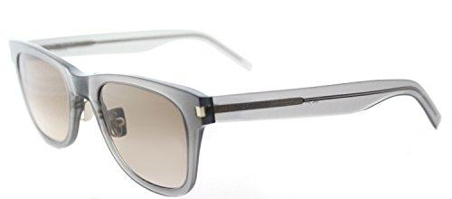 Saint Laurent SL 51 SLIM 005 Transparent Grey Plastic Rectangle Sunglasses Brown Gradient - Saint 51 Laurent Sl