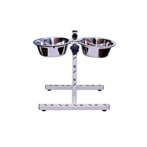 Pet Paradise™ Stainless Steel Double Diner Food Dog Bowl Stand Large (1600ml X 2) for Food and Water for Pets,Dogs, Puppy, Cat, Kittens
