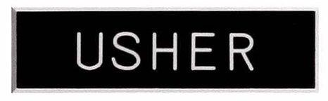 Engraved Usher Badge - Plastic, Pin-back (3-pack)