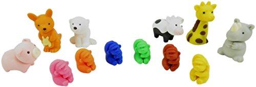 (Take Apart Complete Your Collection Mini Erasers Gorilla Giraffe Polar Bear Rhino Kangaroo Pig Cow (Pack of 12))